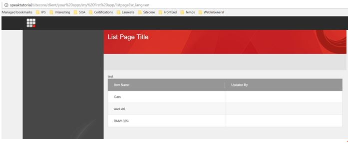 Sitecore Speak page list preview 3